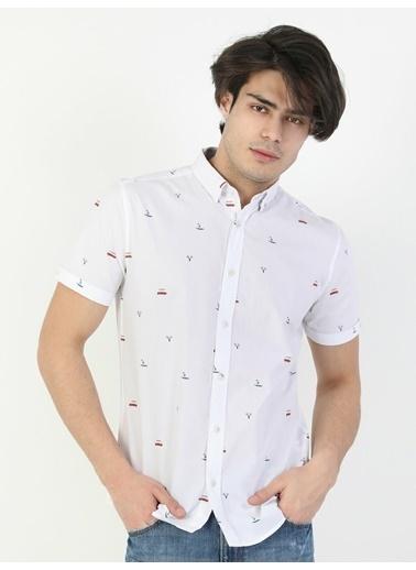 Colin's Slim Fit Standart Kol V Yaka Sarı Erkek Gömlek Kısa Kol Beyaz